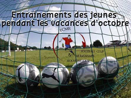 entrainements de foot des jeunes pendant les vancances d'octobre 2017